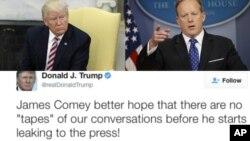 Le président Donald Trump, à droite, le secrétaire à la presse de la Maison Blanche, Sean Spicer, et le tweet du président vendredi à l'ancien directeur du FBI, James Comey.