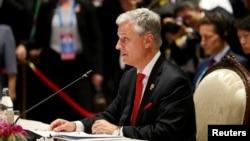 白宮國家安全顧問羅伯特·奧布萊恩2019年11月4日在泰國曼谷舉行的東盟 - 美國峰會上講話。