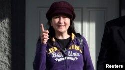 Mạnh Vãn Chu, Giám đốc Tài chính tập đoàn công nghệ Huawei Trung Quốc, rời nhà riêng của gia đình ở Vancouver, tỉnh British Columbia, Canada, ngày 6 tháng 3, 2019.