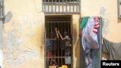 Inmates are seen at the Mogadishu central cell in Mogadishu, Somalia, July 20, 2019.