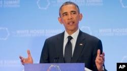 Presiden AS Barack Obama berbicara pada KTT Kontra Ekstremisme di Washington, Kamis (19/2).