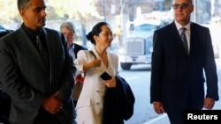 中國華為公司首席財務官孟晚舟前往加拿大溫哥華一家法庭繼續出席庭審。(2019年9月30日)