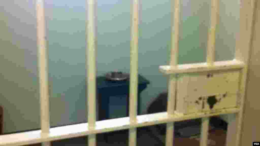 Nelson Mandela's cell during President Obama's visit to Robben Island prison in South Africa.