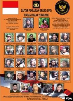 Daftar DPO Tindak Pidana Terorisme Kelompok Santoso (Foto: Dokumen Satgas Operasi Tinombala)
