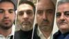 از راست: علیرضا شاهواروقی فراهانی، امید نوری، محمود خاضعین و کیا صادقی. نام آنها در ماجرای نقشه برای ربودن مسیح علینژاد مطرح شده بود.