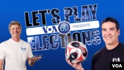 VOA's Ted Greenfield and Alberto Mascaro on the poster for Let's Play Elections