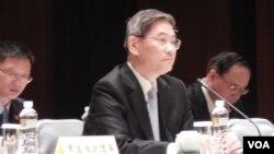 大陆国台办主任张志军2015年5月23日 在台湾金门参加第三次两岸事务首长会议。 (美国之音赵婉成拍摄)