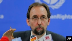 "FILE - U.N. High Commissioner for Human Rights Zeid Ra'ad Al Hussein, pictured talking to reporters in Colombo, Sri Lanka, Feb. 9, 2016, says the U.N. probe of sexual abuse allegations in the Central African Republic ""must leave no stone unturned."""