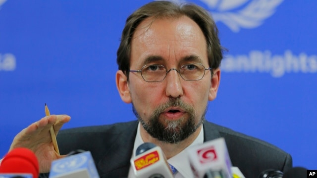 FILE - United Nations High Commissioner for Human Rights Zeid Ra'ad al-Hussein addresses the media in Colombo, Sri Lanka, Feb. 9, 2016.