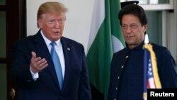 Presiden AS Donald Trump menerima kunjungan PM Pakistan Imran Khan di Gedung Putih, Senin (22/7).
