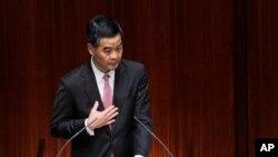 香港特首梁振英2013年1月16日出席立法會答問大會(資料照片)