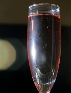 A glass of rose Champagne