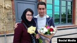 مهدی حاجتی عضو پیشین شورای شهر شیراز در کنار همسر خود زهره رستگار