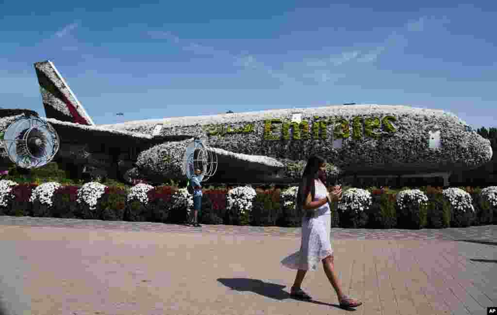 یک مدل هواپیمای ایرباس A380 ساخته شده از گل در باغ معجزه در دوبی