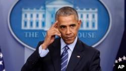 Le président Barack Obama lors d'une conférence de presse à la Maison Blanche à Washington, le 16 décembre 2016.