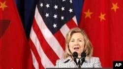 希拉里.克林頓表示中國人無法阻擋民主改革.