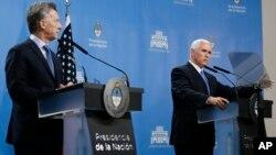 El vicepresidente de Estados Unidos, Mike Pence se reunió este martes en Buenos Aires con el presidente argentino Mauricio Macri. Agosto 15 de 2017.
