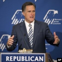 Mitt Romney speaks at the Republican Jewish Coalition annual leadership meeting, in Las Vegas (File Photo - April 2, 2011)