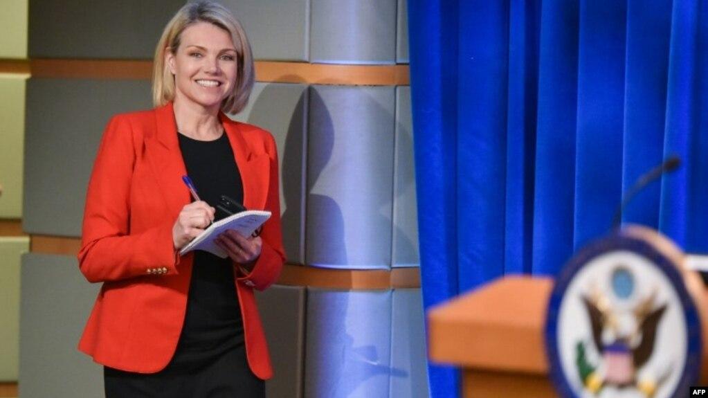 Bà Heather Nauert trong vị trí phát ngôn viên Bộ Ngoại giao Mỹ