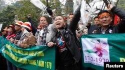 Ảnh tư liệu: Biểu tình chống Trung Quốc đánh dấu kỷ niệm cuộc chiến tranh biên giới Việt-Trung tại hồ Hoàn Kiếm ở Hà Nội, ngày 16/2/2014.