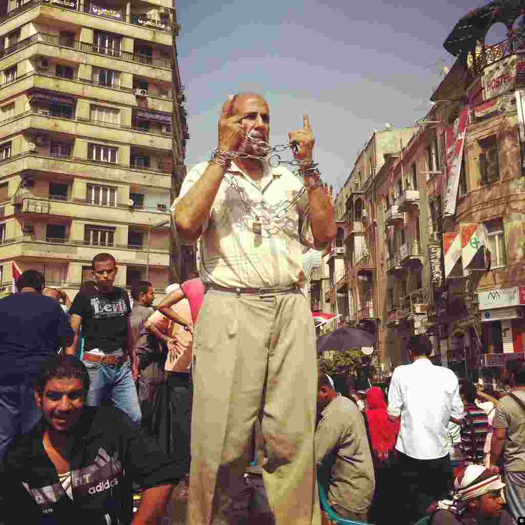 A demonstrator displays post-election frustrations on June 18th, 2012 in Tahrir Square of Cairo.