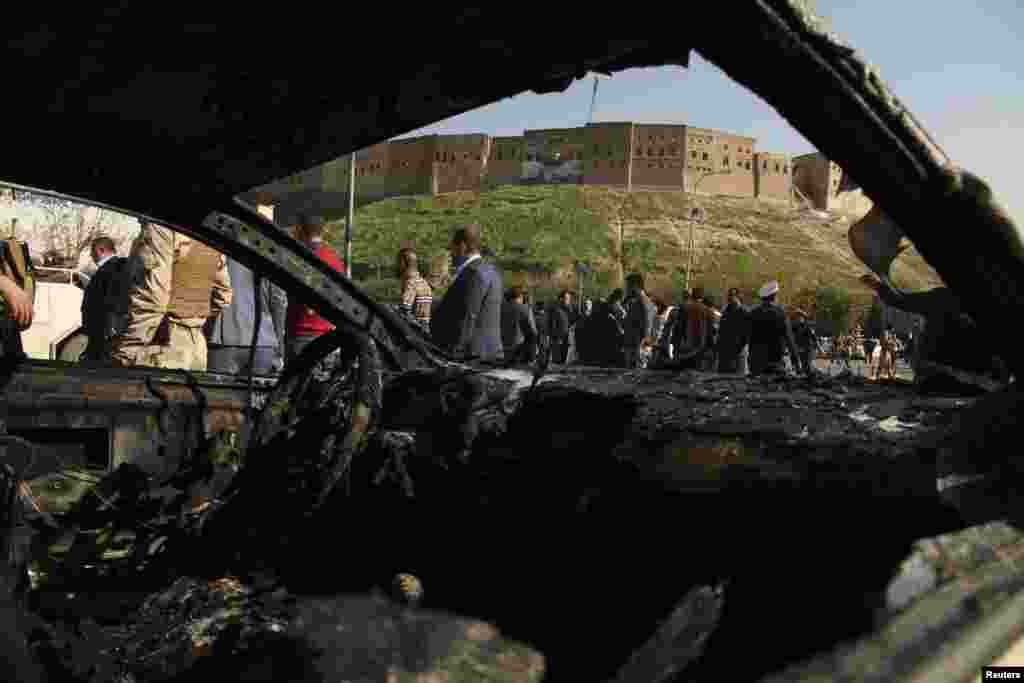 The interior of the car used in the attack in Irbil, the capital of Iraq's Kurdistan region, Nov. 19, 2014.