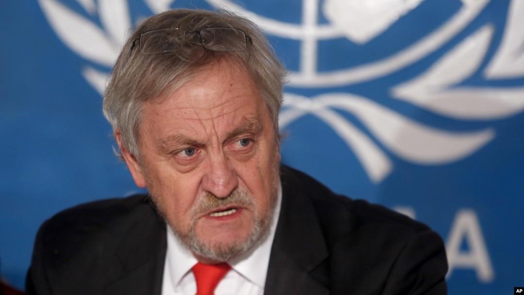 Then the top U.N. envoy in Afghanistan, Nicholas Haysom speaks during a press conference in Kabul, Feb. 18, 2015.