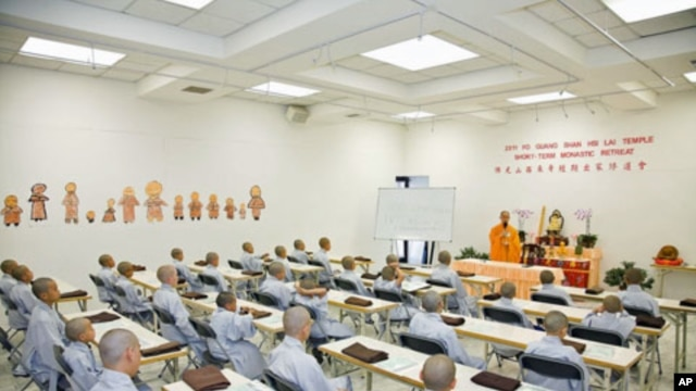 A class of boys receives instruction at the Hsi Lai Temple in Los Angeles, California