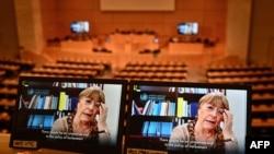La Alta Comisionada de las Naciones Unidas para los Derechos Humanos, Michelle Bachelet, hablando durante una sesión del Consejo de DD.HH de la ONU, el 25 de febrero de 2021.