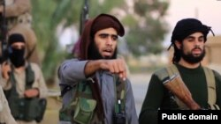 FILE - Screen grab of purported Islamic State video threatening terror attack on Washington, D.C. Video authenticity has not yet been independently confirmed, Nov. 16, 2015.