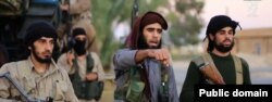 FILE – A screen grab of purported Islamic State video.