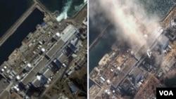 Las imágenes satelitales muestran la planta Fukushima Dai-ichi en noviembre de 2004 a la derecha y a la izquierda se observa al reactor 3 humeante el lunes 14 de marzo de 2011.