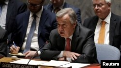 United Nations Secretary-General Antonio Guterres addresses a meeting of the U.N. Security Council on South Sudan at U.N. headquarters in New York City, March 23, 2017.