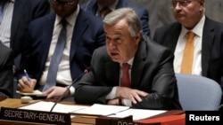 聯合國秘書長古特雷斯3月23日聯合國講話資料圖。