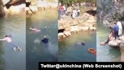 英国驻中国使馆推特视频显示英国总领事史云森跳入水中救助一名溺水的女学生。