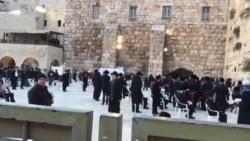 دیوار ِگریہ پر مرد حضرات عبادت کرتے ہوئے