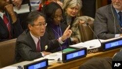 지난달 18일 열린 유엔총회 제3위원회 전체회의에서 일본 대표가 북한인권 결의안에 대한 제안 설명을 하고 있다.