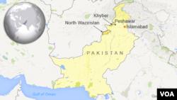 Peta wilayah Waziristan utara dan Peshawar, Pakistan