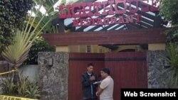 Nhà hàng Lighthouse ở thành phố Cebu sau vụ nổ súng (ảnh chụp từ trang web shanghaiist.com).