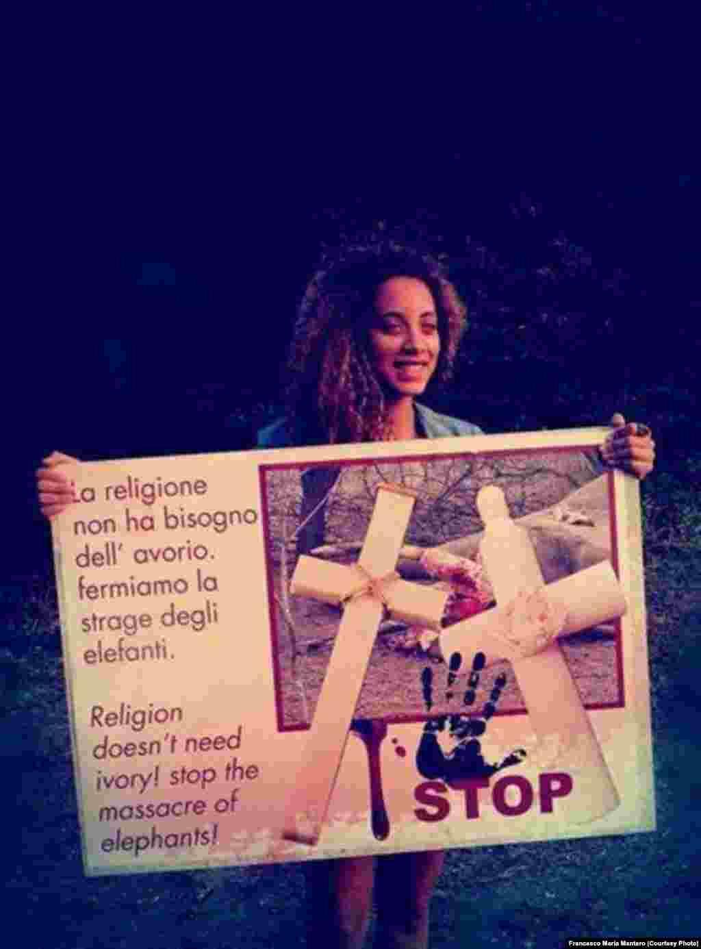 A religiao nao precisa de marfim, manifestação no Vaticano contra a caça furtiva em Moçambique. Foto de Francesco Maria Mantero