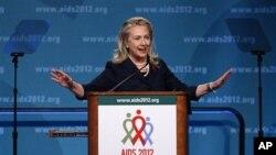 ລັດຖະມົນຕີການຕ່າງປະເທດ ທ່ານນາງ Hillary Rodham Clinton ກ່າວທີ່ກອງປະຊຸມ ພະຍາດ AIDS ນາໆຊາດ ຄັ້ງທີ່ XIX ວັນຈັນ ທີ່ 23 ເດືອນກໍລະກົດ 2012, ທີ່ນະຄອນຫລວງ ວໍຊິງຕັນ ດີ.ຊີ