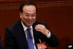2017年3月6日,时任中共重庆市委书记孙政才在北京开会。