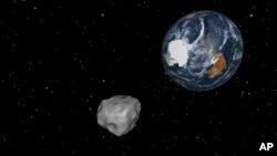 8일 미 항공우주국(NASA)이 공개한 소행성 가상도.