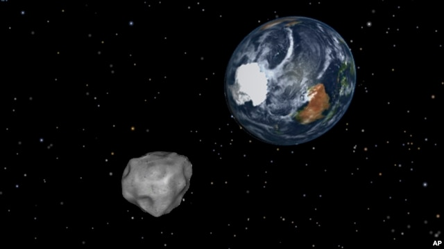 This image provided by NASA/JPL-Caltech shows a simulation of asteroid 2012 DA14 approaching from the south as it passes through the Earth-moon system on Feb. 15, 2013. The 45 meter object will pass within 17,000 miles of the Earth.