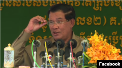 FILE - Prime Minister Hun Sen speaks at a road inauguration in Phnom Penh, March 6, 2017. (Hun Sen's Facebook)