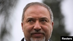FILE - Israel's head of Yisrael Beitenu party Avigdor Lieberman, Feb. 23, 2015.