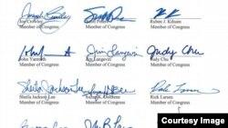 اعتراض نامۀ اعضای کانگرس و امضای قانونگذاران امریکایی