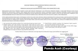 Maklumat bersama penetapan jam malam di Aceh mulai Minggu, 29 Maret 2020. (Foto: Courtesy/Pemda Aceh)