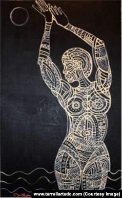 """James Terrell's """"Mami Wata"""" depicts the goddess of the sea. The lack of color and light evokes the time when enslaved people were being brought to America."""