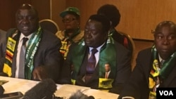 War veterans leaders addressing colleagues in Harare on Tuesday, Aug 21, 2018